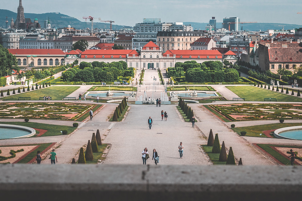 the Belvedere Palace complex in Vienna