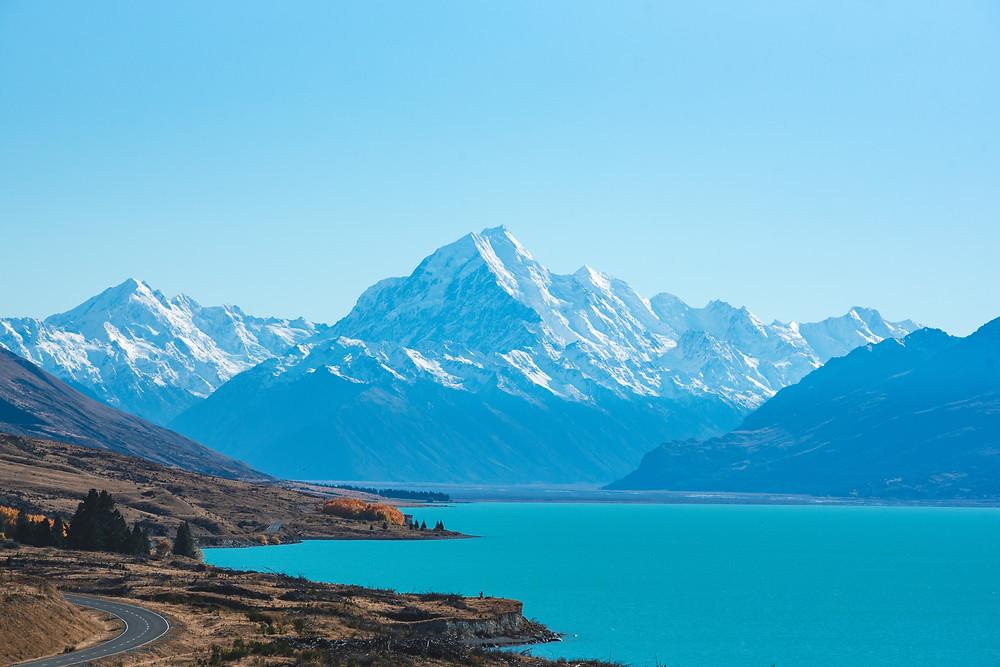 Озеро Пукаки и гора Кука, Новая Зеландия. Туры в Новую Зеландию. Гид в Новой Зеландии.
