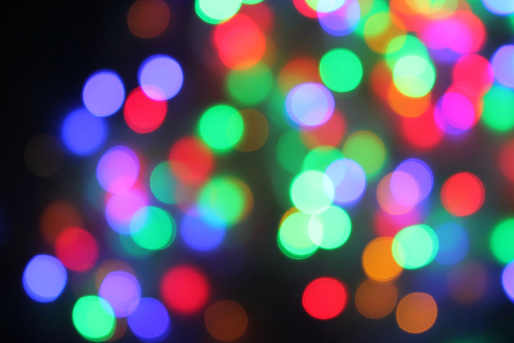 light orbs blue green red christmas