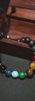 colored beads on bracelet