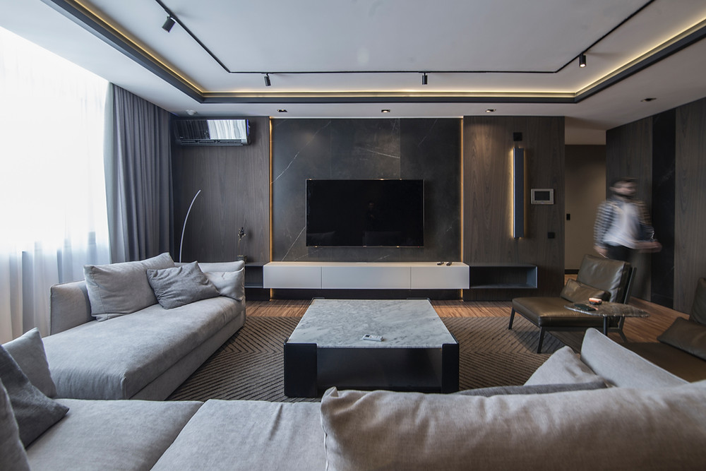 home theatre living room couches white