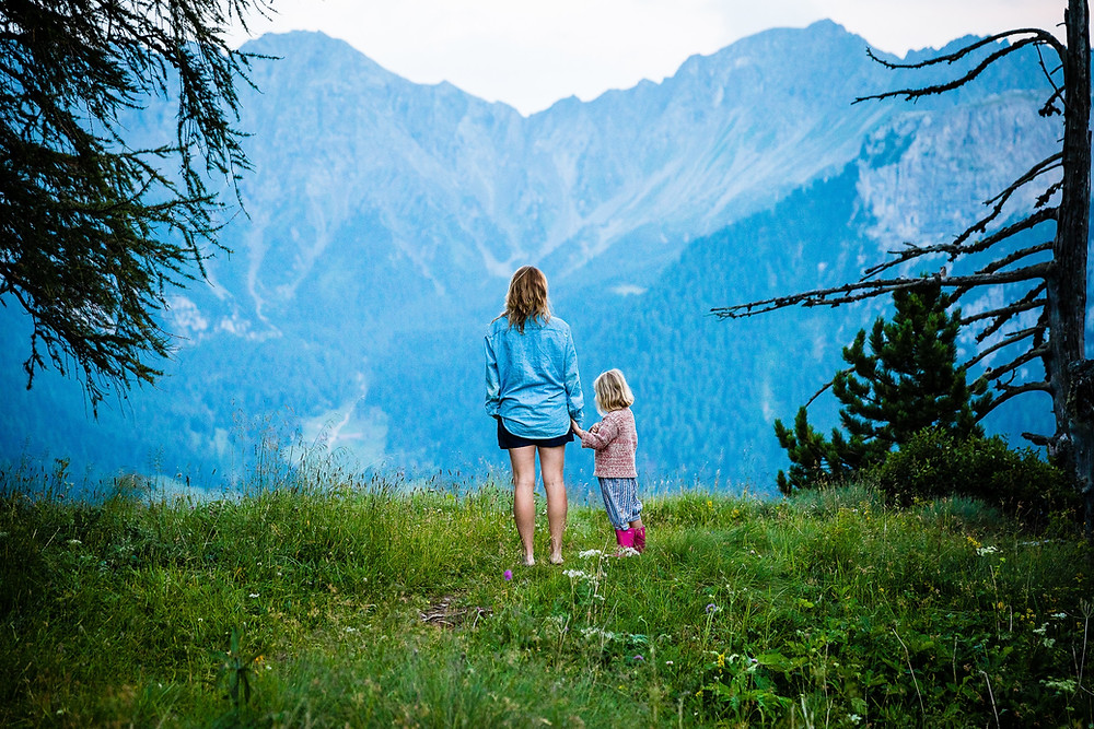 Mother and Child amongst mountains