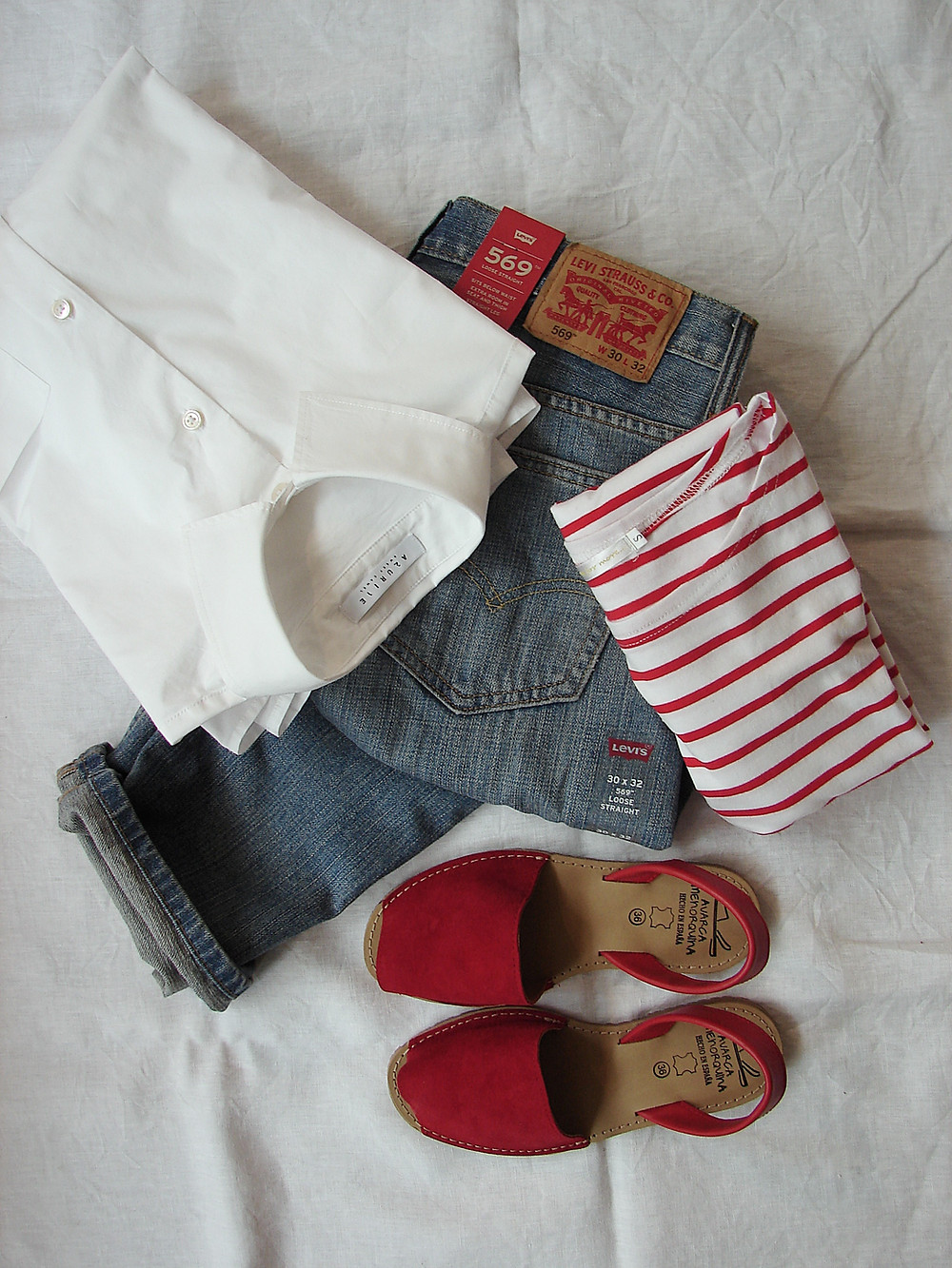 Blue Jeans Red and White Stripe T-Shirt and Red Shoes