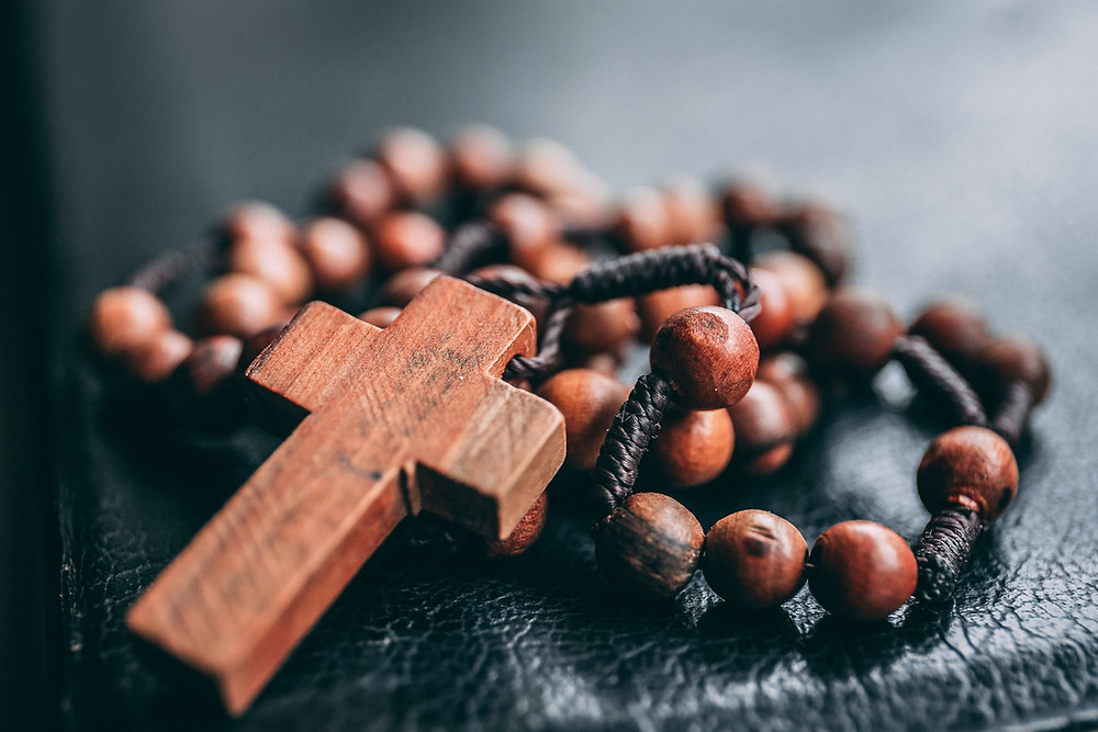 a wooden rosary