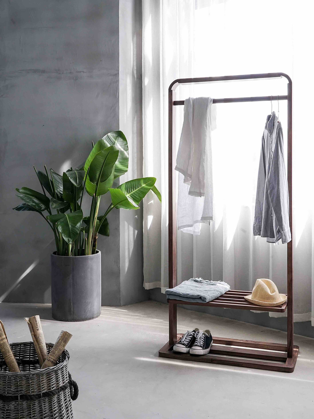 tidy organised room clothes hanger plant clean