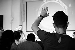 Man raising hand