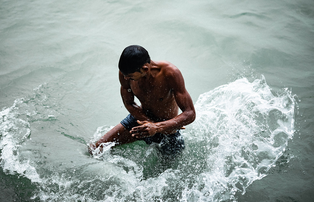Hindus bathe in the River Ganges during holy days.