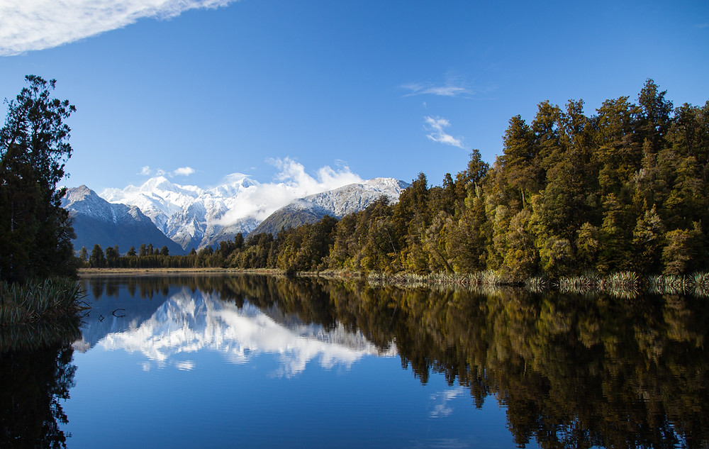 Matheson lake, Fox glacier, New Zealand. Tours of New Zealand. New Zealand activities.