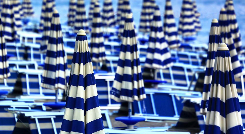 field of umbrellas