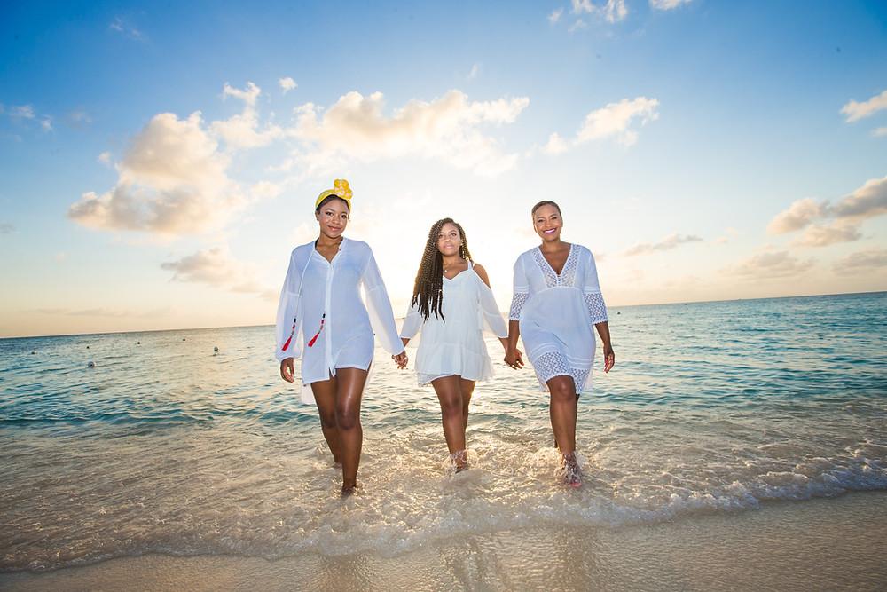 three women on a beach