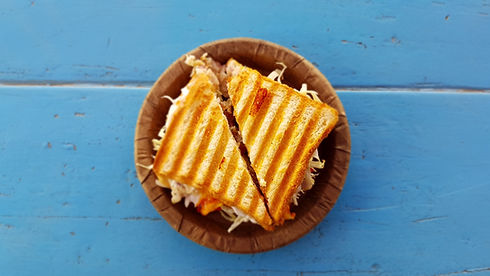 Sandwich cut diagonally with toasted bread