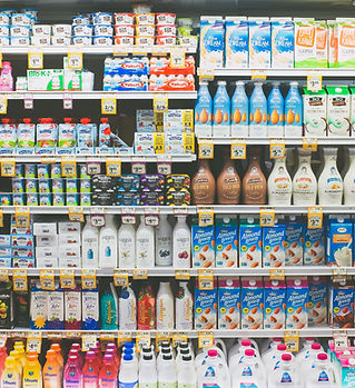 Dairy and Non-Dairy Products in Fridge