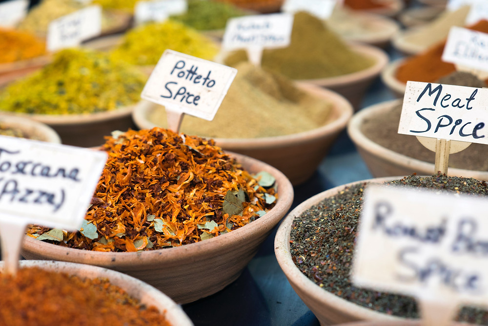 Spice Bazaar in Istanbul showing different type of spices