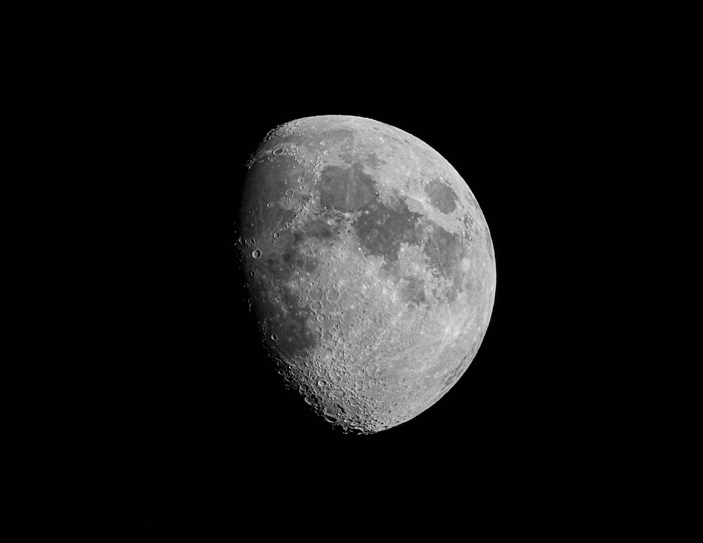 A closeup of the moon in space