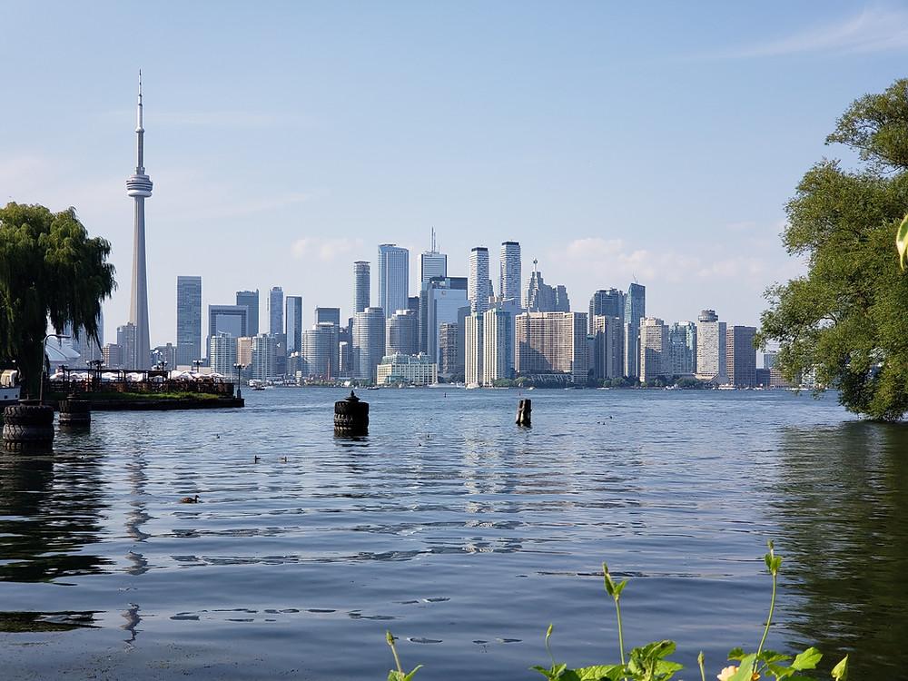 View of the Toronto skyline from Lake Ontario