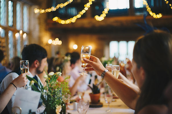 A toast at a seated wedding event with fairylights and flowers