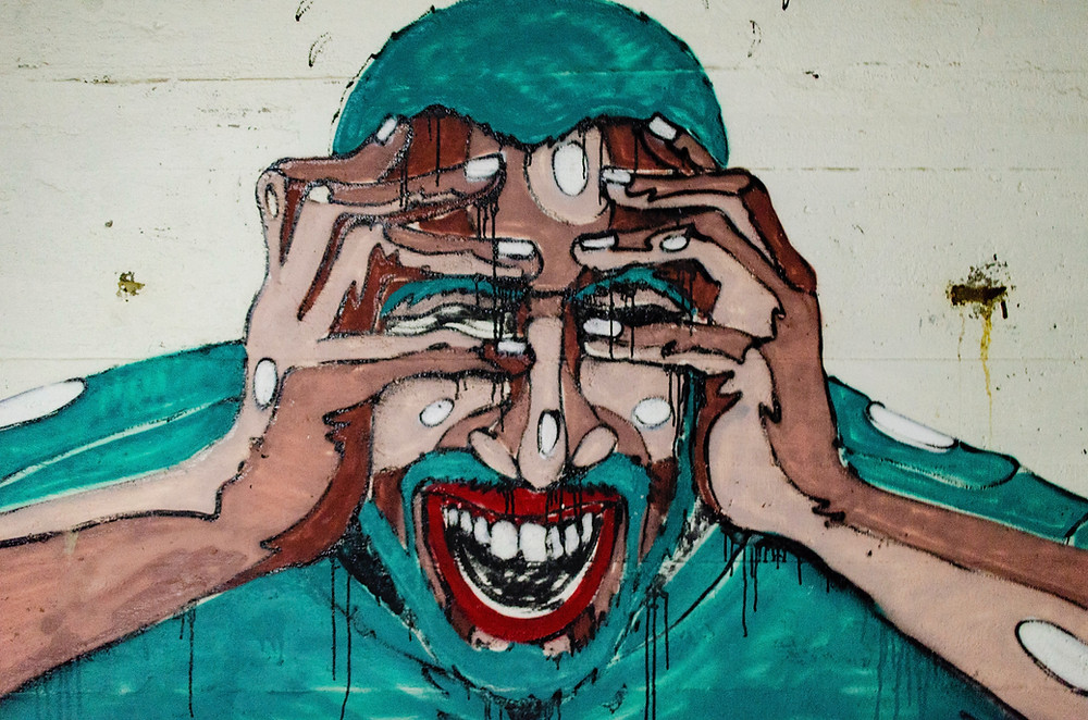 mural of stressed man