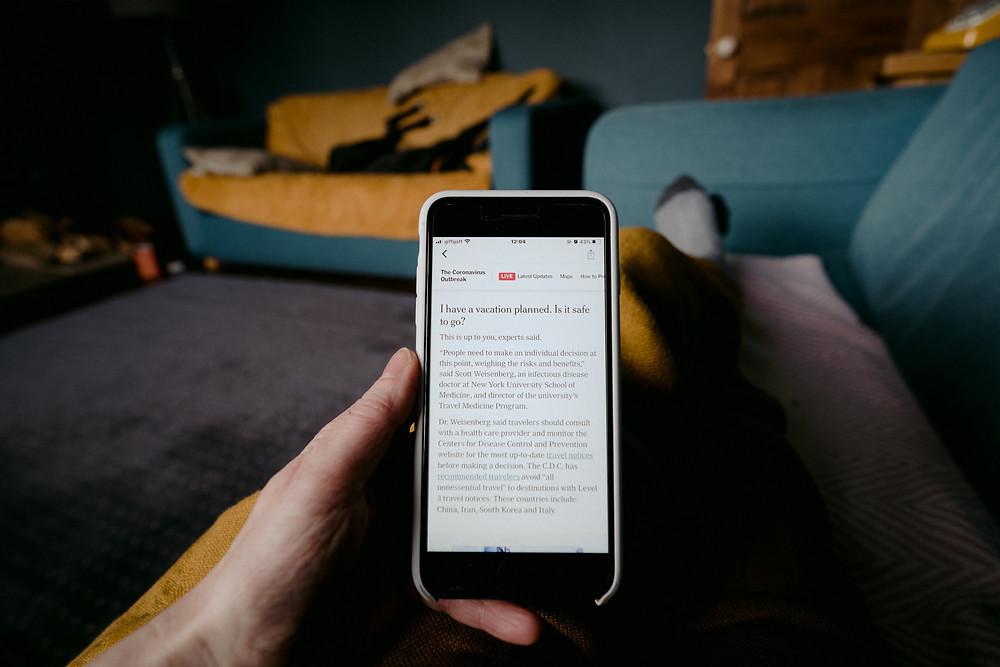 news screen on a phone
