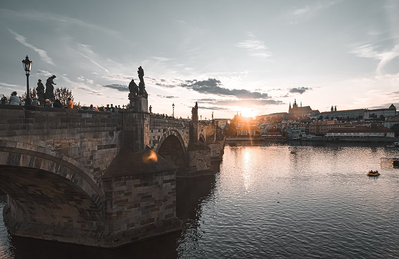 Sunset in Prague and St Charles' Bridge. An Ariodante Travel Tour