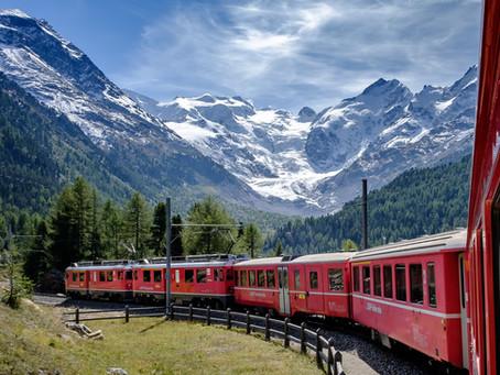 (Vídeo) Espetacular passeio de trem pelos Alpes Suíços, inscrito como patrimônio mundial da Unesco.