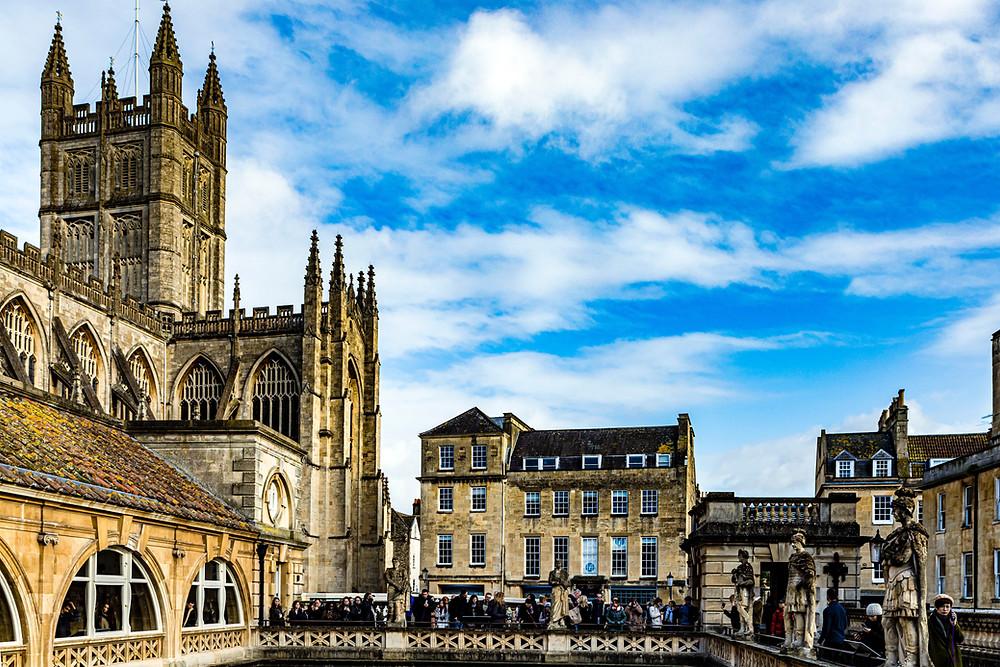 Antique historic landmark Roman Baths in Bath England UK