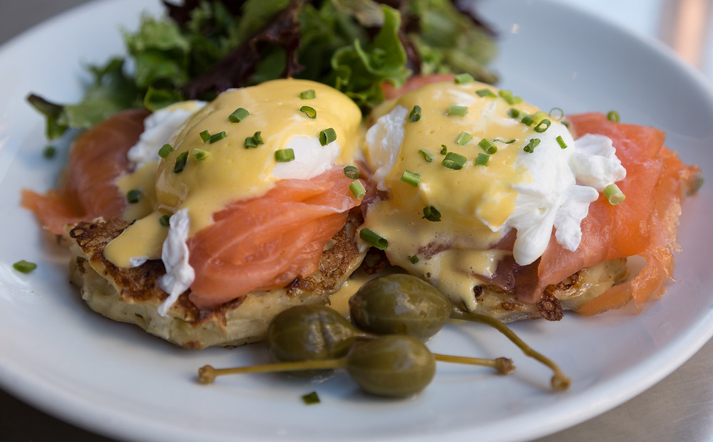 croque madame lox poached eggs