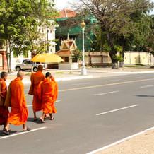Monk Walking in Phnom Pehn
