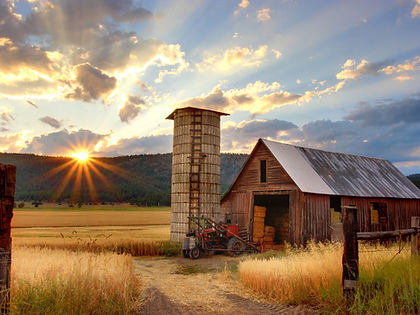 Barn and silo at Farm at Sunset