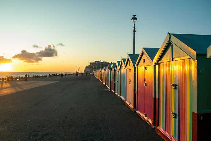 Brighton and Hove beach huts and seafront.