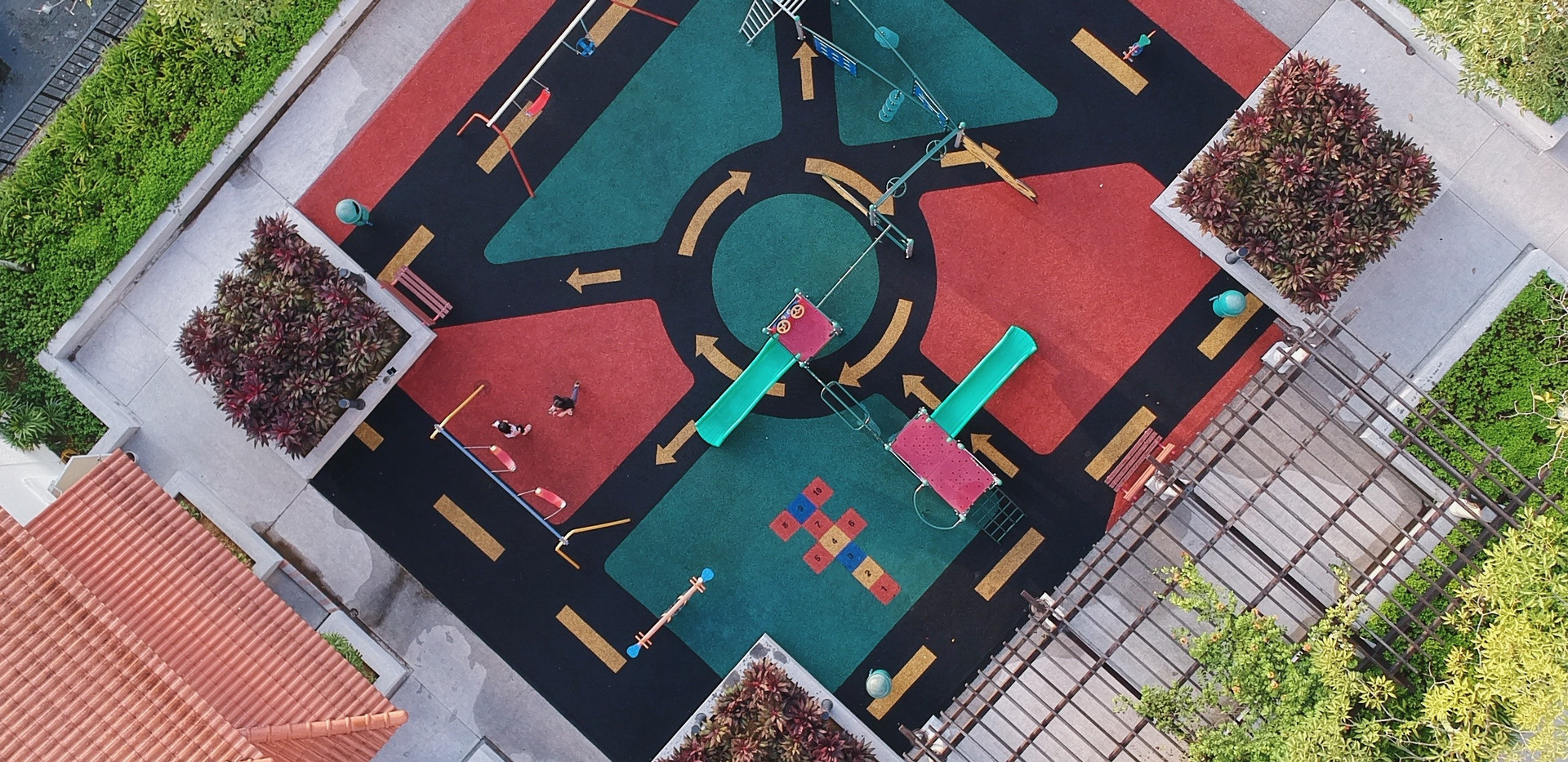 Arial view of playground