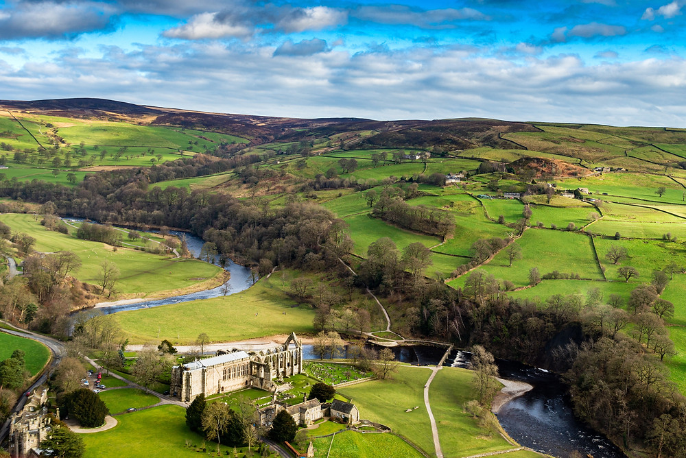 Aerial shot of Bolton Abbey Estate