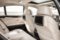 Transportation, automotive, aeronautic, railway, applications of the Fibroline dry powder impregnation technologies and process for nonwovens textiles foams. Automotive interior parts, headliners, door panels, automotive filters, latex free automotive carpets.
