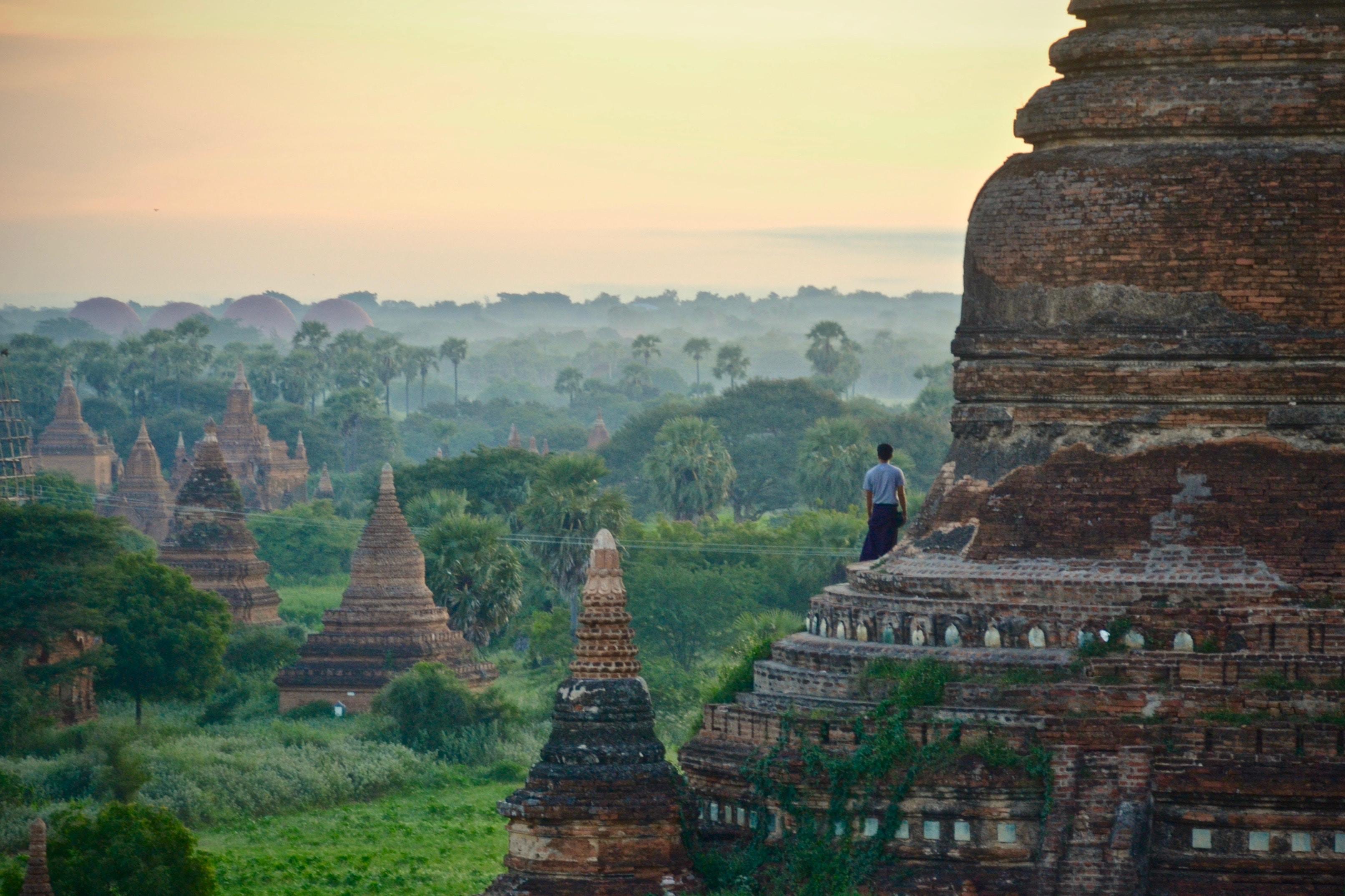 Sunset at Bagan Pagodas