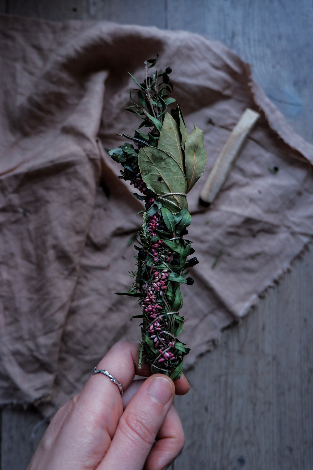 Smudging bundles can be made out of many different types of plants so playing around with what grows sustainably is the best method to make your own bundles.
