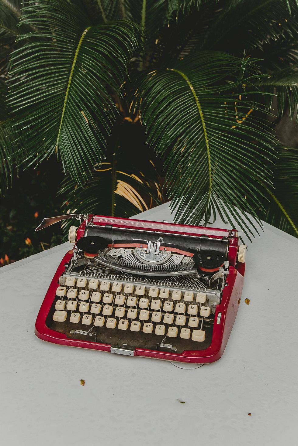 Typewriter infront of plant