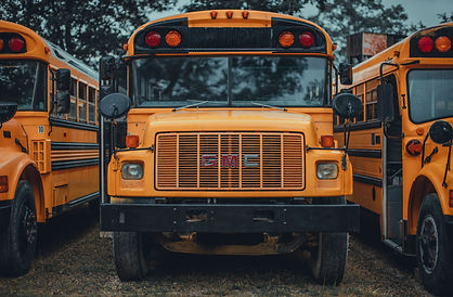 Line of Parked School Busses