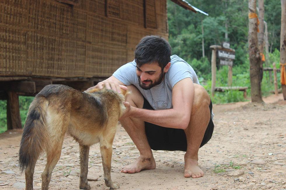 Man patting a rescue dog
