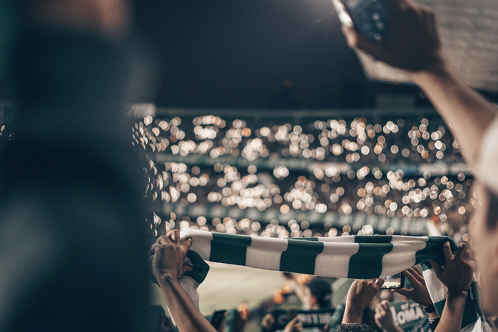 Football fan holding scarf in packed stadium at night