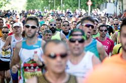 Marathon running crowd
