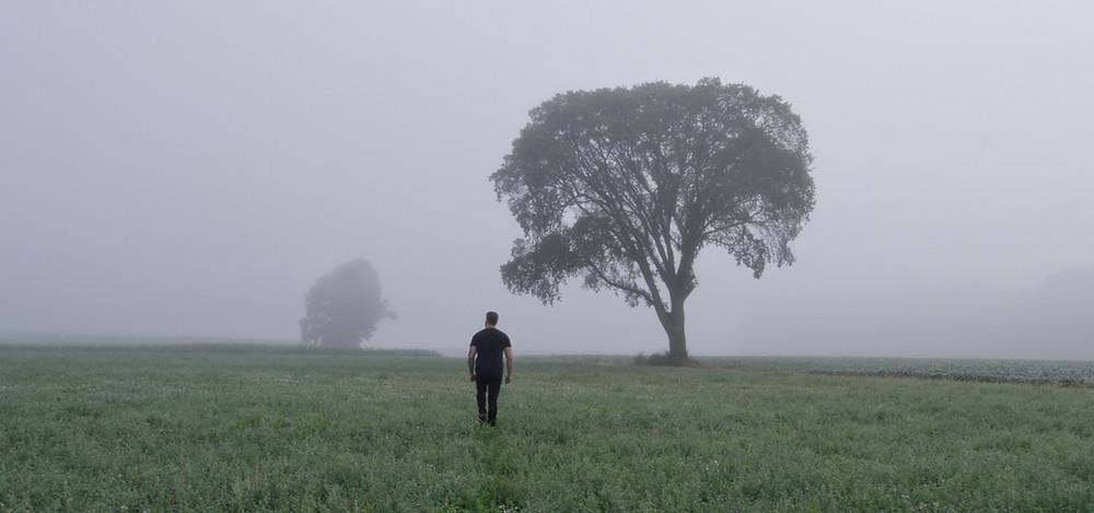 Man in field walking into the fog.