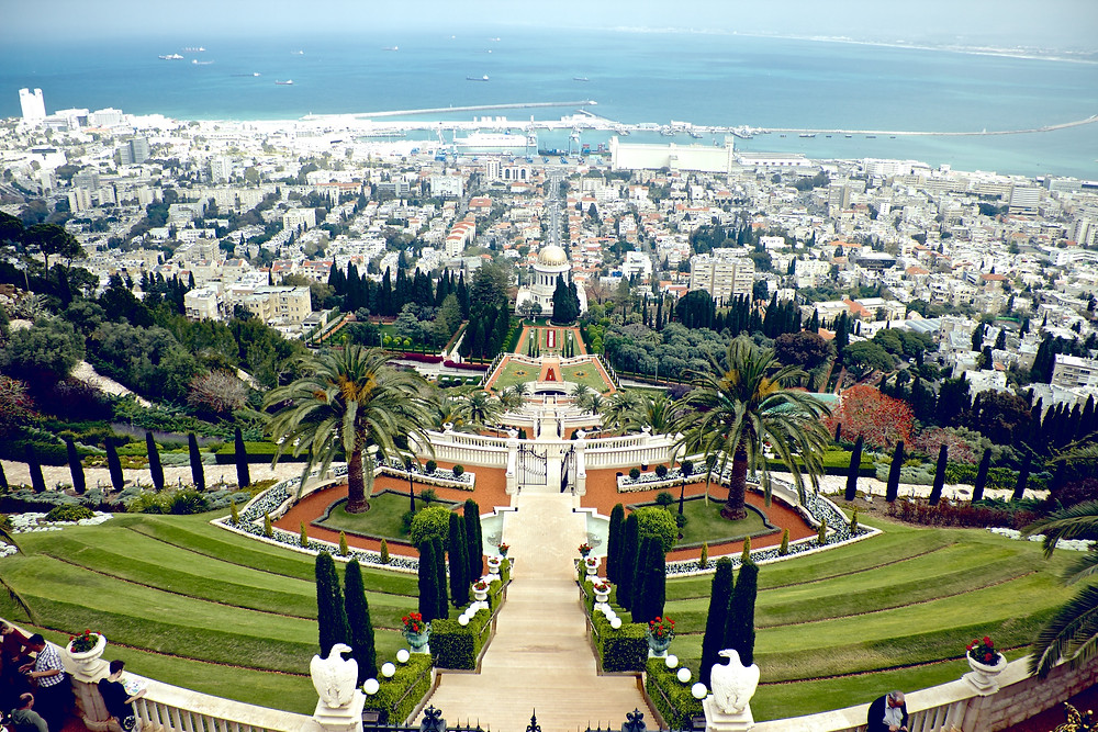 A view from the top of the Bahai Gardens in Haifa looking down the gardens towards the Mediterranean Sea