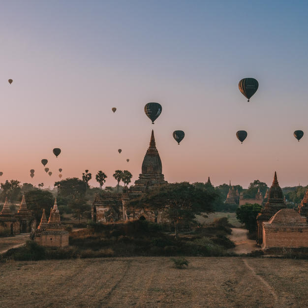 Watch a sunrise over Bagan Temples in Myanmar
