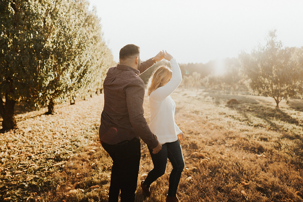 Couple dancing in the farm