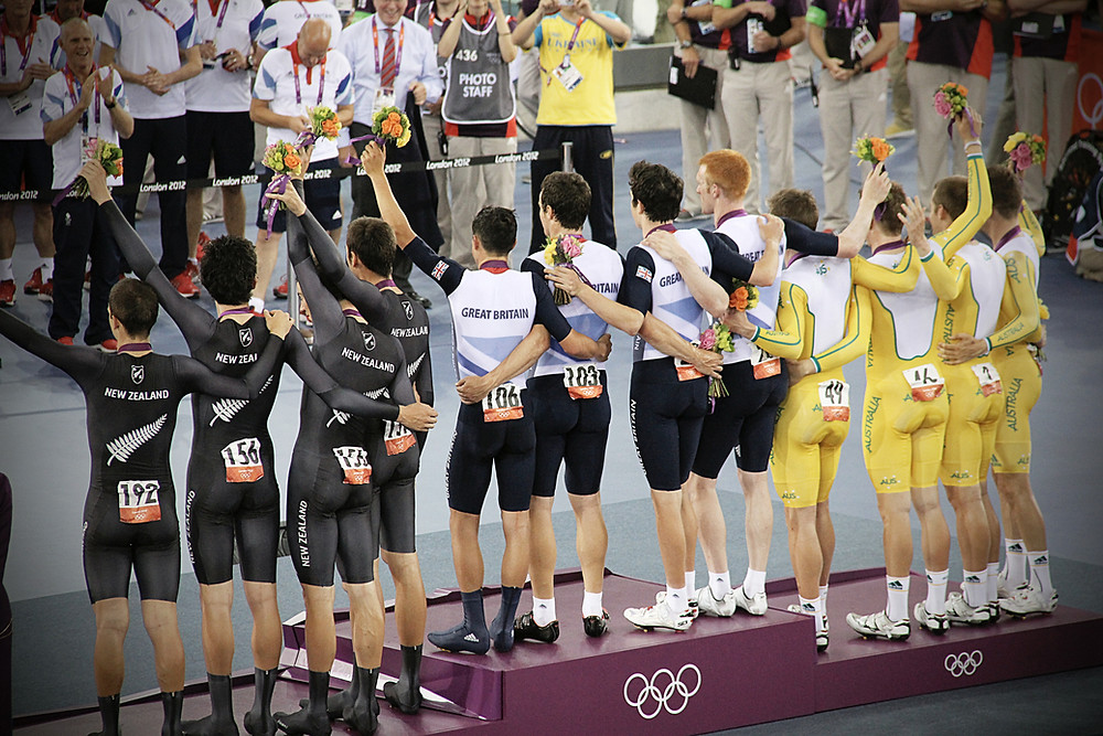Olympic mens track pursuit podium