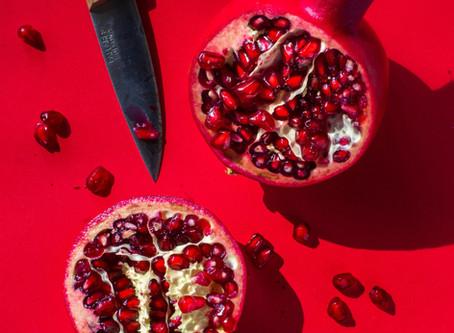Gerechten met granaatappel