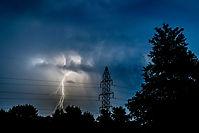 Lightning behind power line