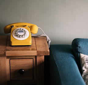 Yellow Phone & Blue Couch