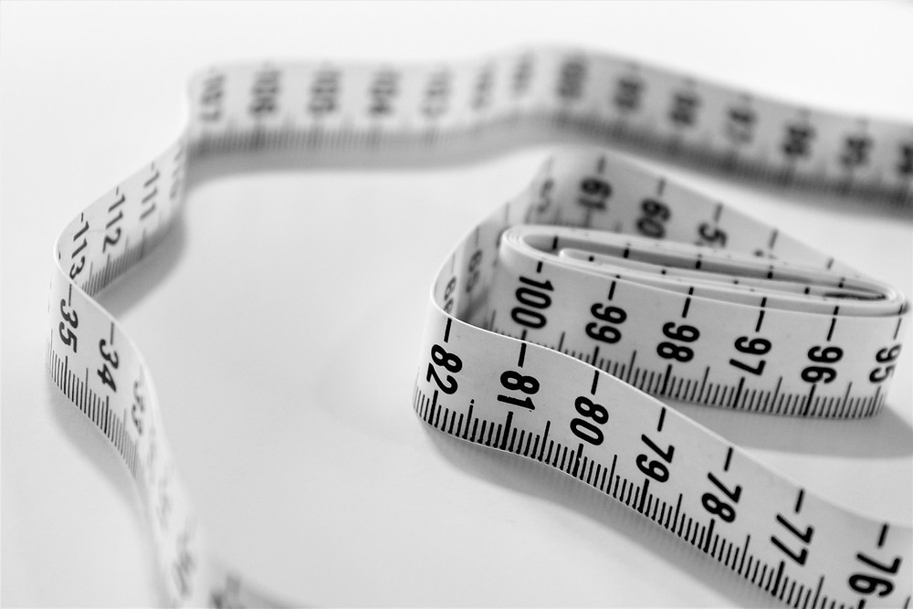 A Black and white tape measure
