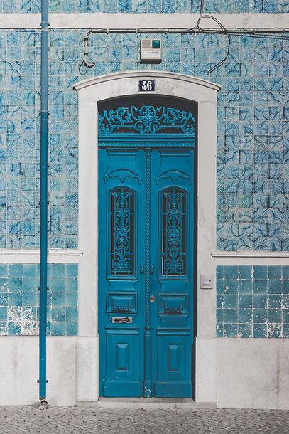 Blue antique door