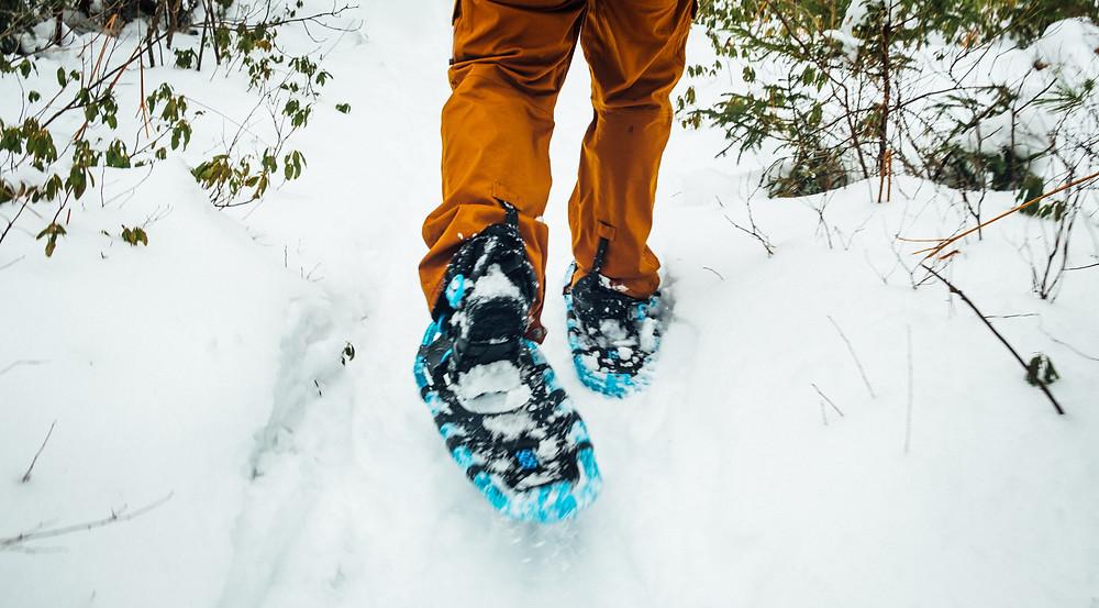 snow shoeing on snow